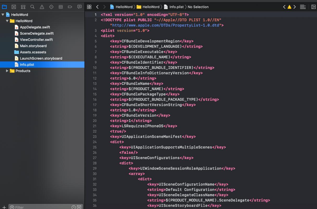 Info.plist source code