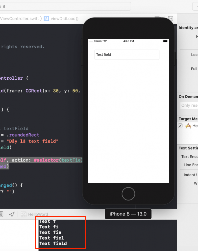 textfield with code