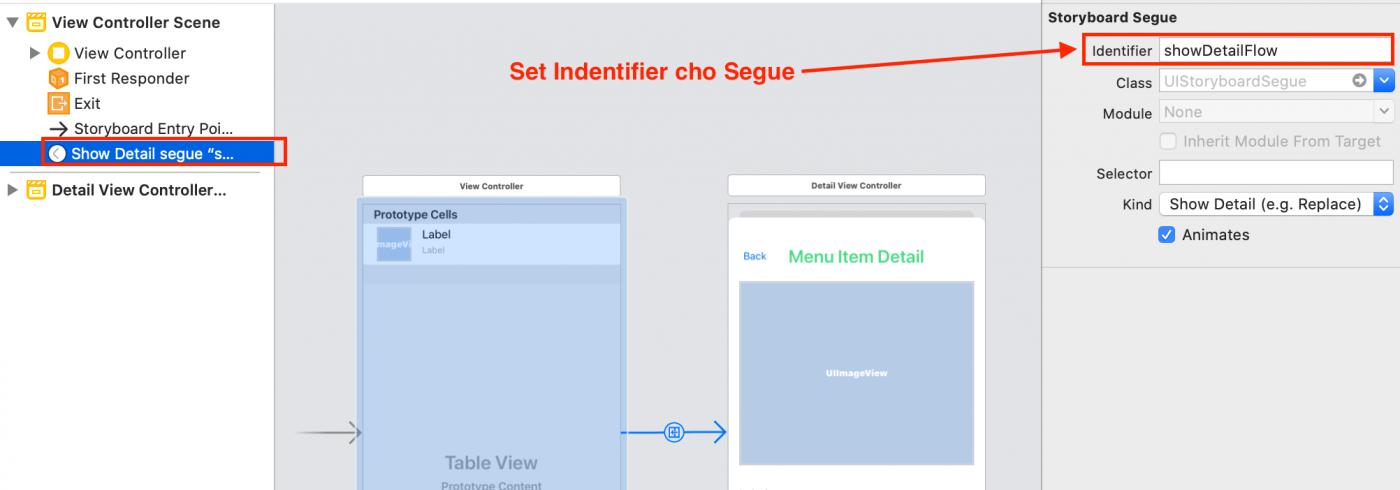Set Indentifier cho Segue