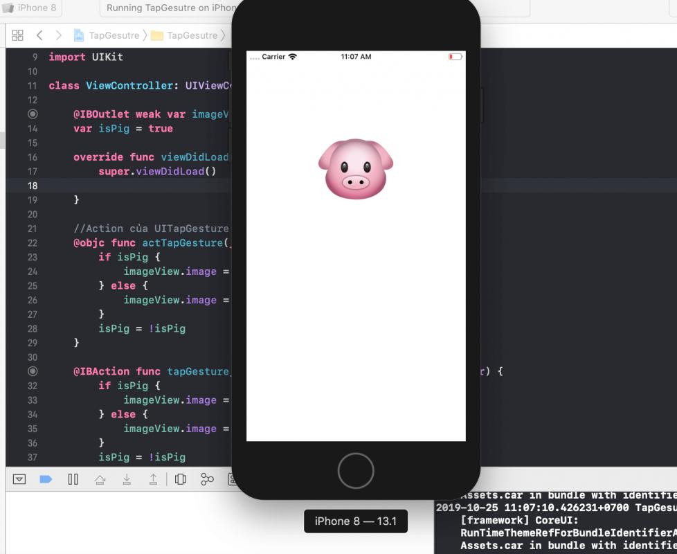 Kết quả tạo UITapGesture bằng code